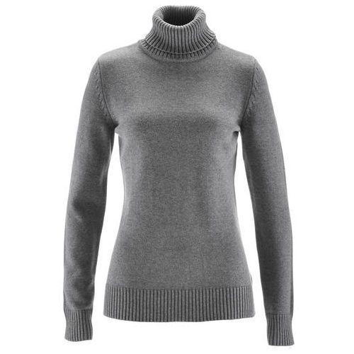 Sweter z golfem bonprix szary melanż, w 4 rozmiarach