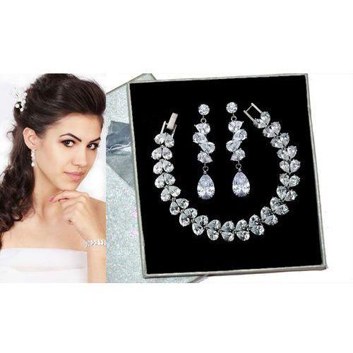 Kpl700 komplet ślubny, biżuteria ślubna z cyrkoniami b599/427 k686/12 marki Mak-biżuteria