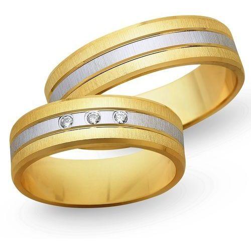 Obrączki z żółtego i białego złota 6mm - O2K/066 - produkt dostępny w Świat Złota