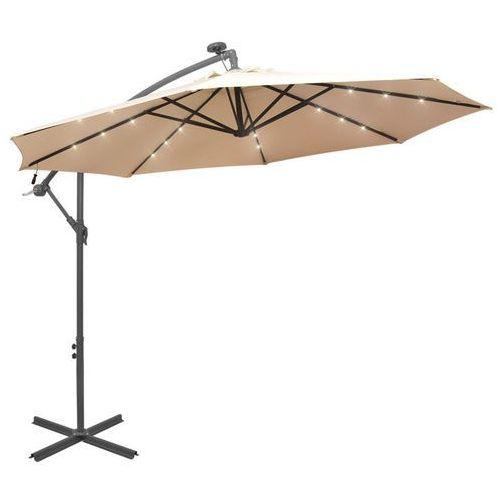 vidaXL Parasol ogrodowy wiszący, światła LED, 300 cm, metal, piaskowy