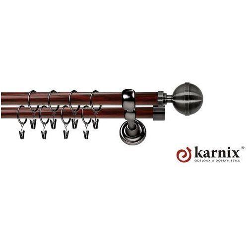Karnisz metalowy prestige podwójny 25/19mm kula elegant antracyt - mahoń wyprodukowany przez Karnix