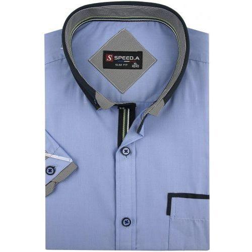 Koszula Męska Speed.A gładka niebieska SLIM FIT na krótki rękaw K647, kolor niebieski