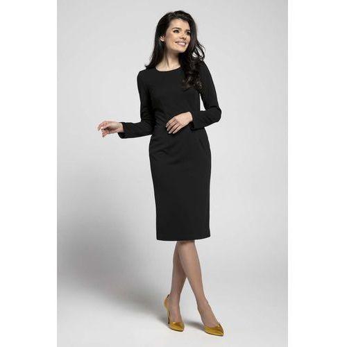 d2fbc0a957 Czarna klasyczna dopasowana sukienka za kolano marki Nommo 115