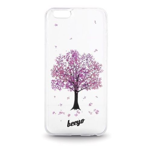 Silikonowa nakładka etui beeyo Blossom do iPhone 5/5s transparentna + fioletowa (5900495419767)