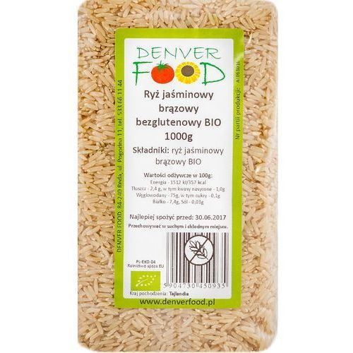 Ryż Jaśminowy Brązowy Bezglutenowy BIO 1 kg Denver Food (5904730450935)