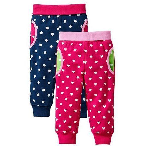 Spodnie dresowe niemowlęce (2 pary) bonprix ciemnoróżowy + ciemnoniebieski - produkt z kategorii- spodenki dla niemowląt