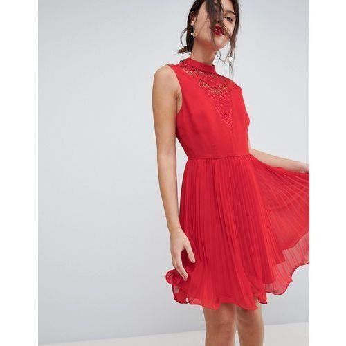 sleeveless lace insert pleated mini dress - red marki Asos