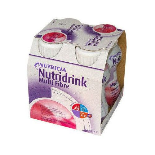 NUTRIDRINK MULTI FIBRE smak truskawkowy 200ml x 4 sztuki (lek witaminy i minerały)