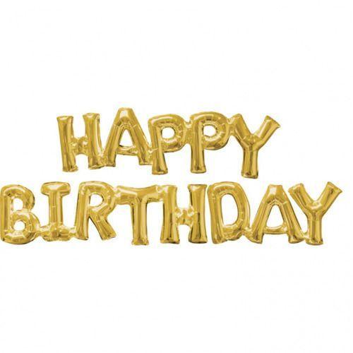 Balony foliowe złote happy birthday - 3 szt. marki Amscan