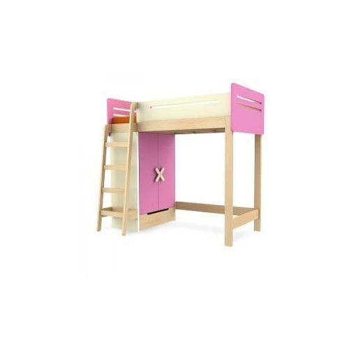 Łóżko piętrowe z szafą prawe/lewe TIMOORE SIMPLE 200/90cm kolor różowy - oferta [05e4d14b331f654f]