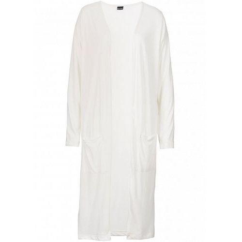 Długi sweter bez zapięcia bonprix biel wełny