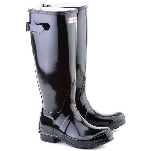 Original Back Adjustable Gloss - Czarne Gumowe Kalosze Damskie - W25064 BLACK marki HUNTER