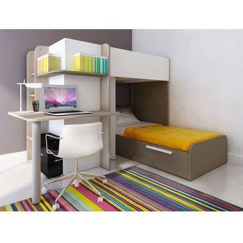Vente-unique Łóżko piętrowe samuel – 2 × 90 × 190 cm – wbudowane biurko – kolor sosna biała i czekoladowy