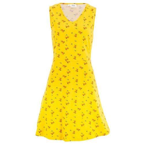 Sukienka letnia z dżerseju z dekoltem w serek żółty kukurydziany w kwiaty marki Bonprix
