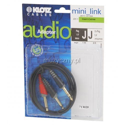 Klotz ay1 0100 kabel insertowy trs / 2xts 1m