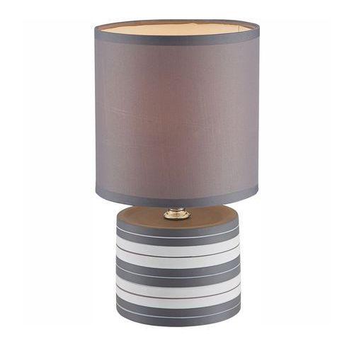 Globo Lampka biurkowa laurie 21660 abażurowa lampa stołowa ip20 okrągły paski szary (9007371285631)