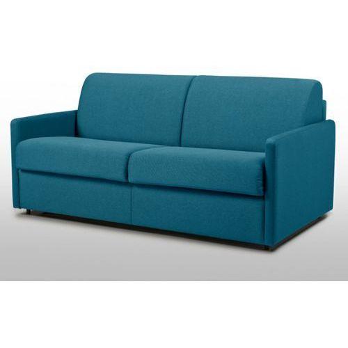 3-osobowa kanapa z ekspresowym mechanizmem rozkładania z tkaniny calife - kolor: turkusowy - wymiary miejsca do spania: 140 cm - materac 14 cm marki Vente-unique
