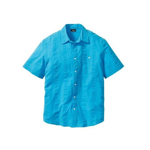 Koszula z kory, krótki rękaw turkusowy marki Bonprix