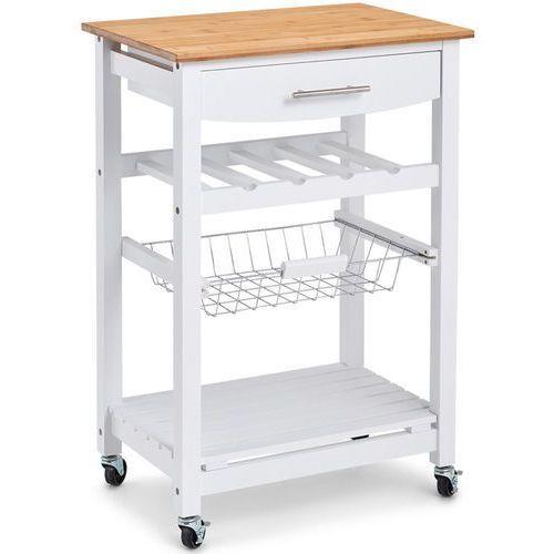 Zeller Mobilny barek kuchenny w kolorze białym, drewniany barek kuchenny, wózek kuchenny na kółkach, regał biały, regał na kółkach, (4003368137698)