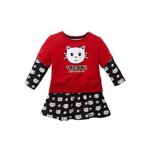Sukienka z bluzą z krótkim rękawem bonprix czarny z nadrukiem - czerwony (sukienka dziecięca)