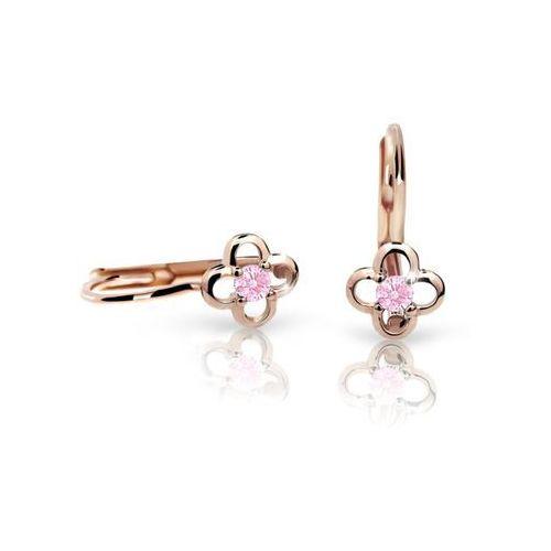Kolczyki dziewczęce Cutie kwiatki C1944 różowego, Pink, zapięcie patentowe