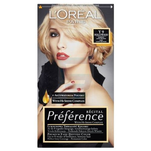 LOREAL PARIS Recital Preference Farba do włosów Y 9 Hollywood Bardzo Jasny Blond