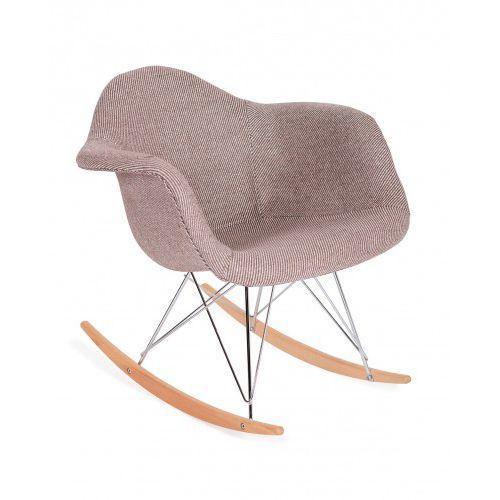 Fotel bujany PLUSH zebra beżowa - podstawa bukowa, kolor beżowy