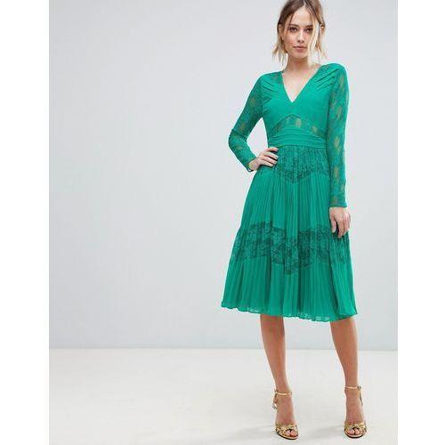ASOS Pleated Lace Insert Midi Dress - Green