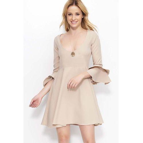 64b09ddee5 Beżowa Krótka Rozkloszowana Sukienka z Głębokim Dekoltem