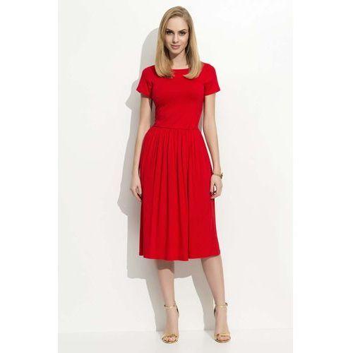 Czerwona Sukienka Klasyczna Rozkloszowana z Krótkim Rękawem, rozkloszowana