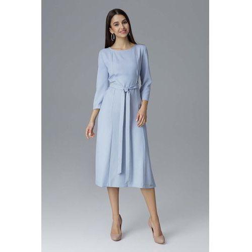 50a094683d Błękitna Rozkloszowana Wizytowa Sukienka z Przeszyciami i Paskiem