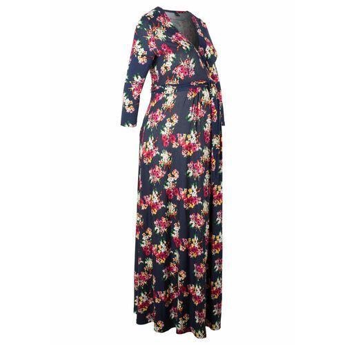 Sukienka shirtowa ciążowa i do karmienia piersią bonprix niebieski w kwiaty, w 4 rozmiarach