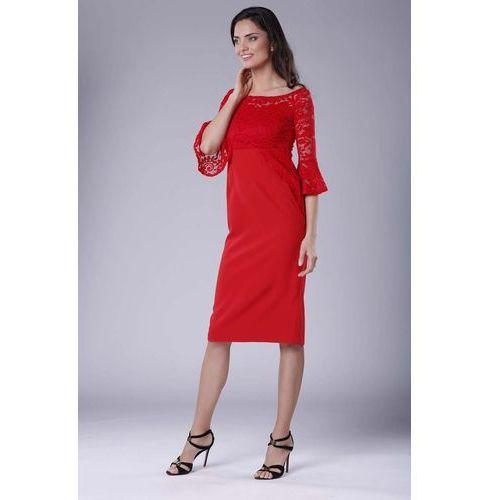 bf5cdb10c1 Czerwona wizytowa dopasowana sukienka z koronką