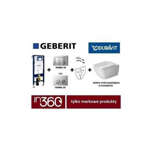 Geberit  happy d.2 zestaw stelaż podtynkowy z miską wc wiszącą, deską w/o i przyciskiem (111.320.00.5+115.883.kh.1+2222090000+0064590000) in.000z312 wyprodukowany przez Duravit