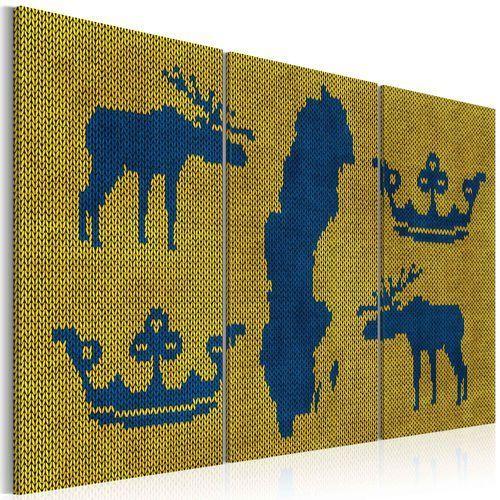 Obraz - Mapa świata: sweter z motywem Szwecji - tryptyk bogata chata