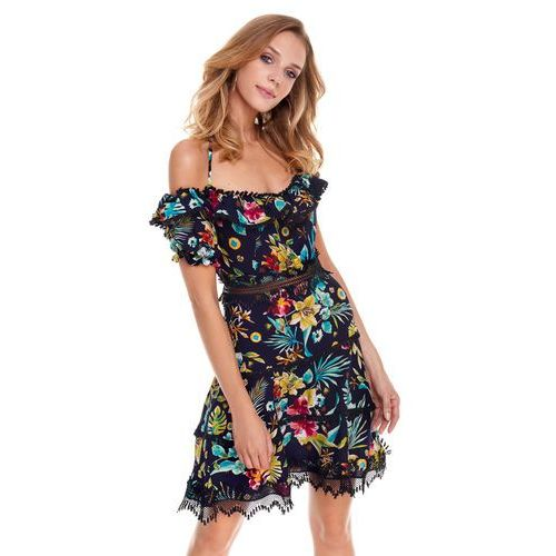 Sugarfree Sukienka playa w kwiaty na granatowym tle