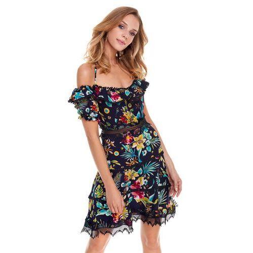 Sukienka Playa w kwiaty na granatowym tle, 1 rozmiar