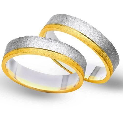 Obrączki z żółtego i białego złota 5mm - O2K/052 - produkt dostępny w Świat Złota
