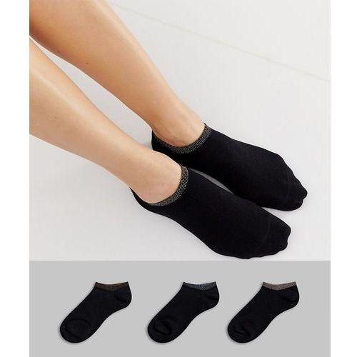 Monki glitter trim 3 pack trainer socks in black - Black, kolor czarny