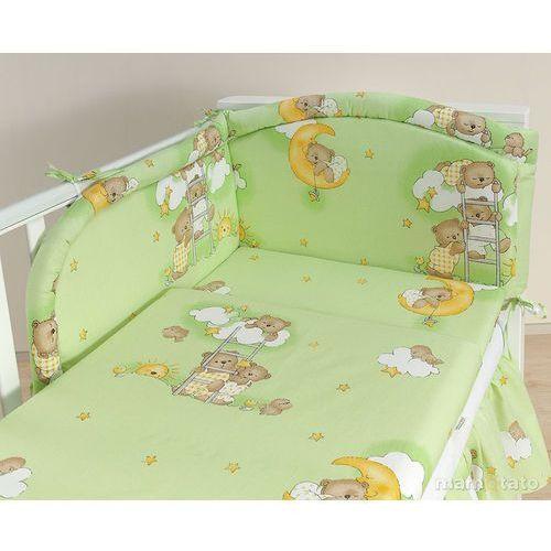 MAMO-TATO pościel 3-el Drabinki z misiami na zielonym tle do łóżeczka 60x120cm