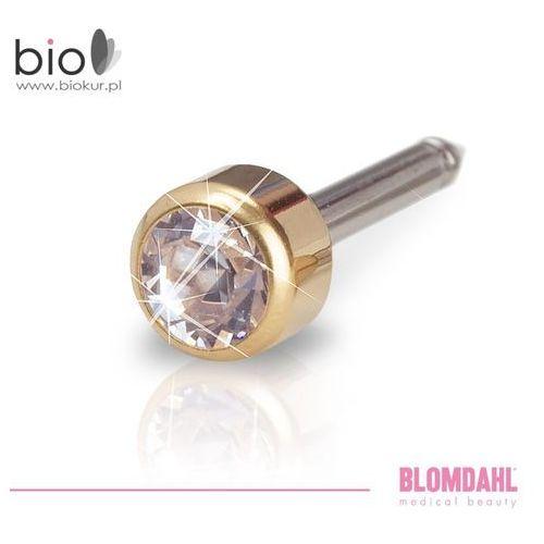 Blomdahl Kolczyk do przekłuwania uszu - bezel crystal 4 mm w kolorze złota