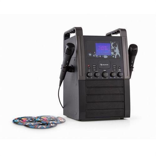auna KA8B-V2 BK zestaw karaoke odtwarzacz CD AUX 2 x mikrofon 3 CD + G do karaoke