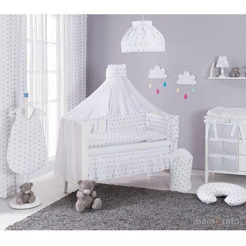 moskitiera baldachim z szarfą z tkaniny gwiazdki szare na bieli marki Mamo-tato