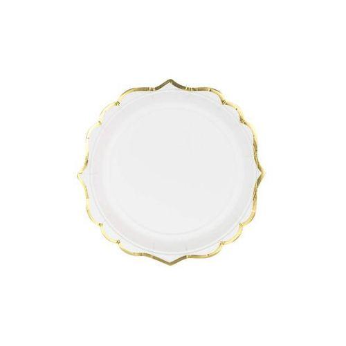 Talerzyki białe ze złotymi brzegami - 18 cm - 6 szt.
