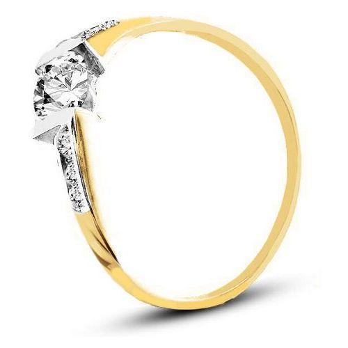 z żółtego złota ze wstawkami białego złota (AGP03G), marki Pierścionek do zakupu w www.e-zegarki.pl