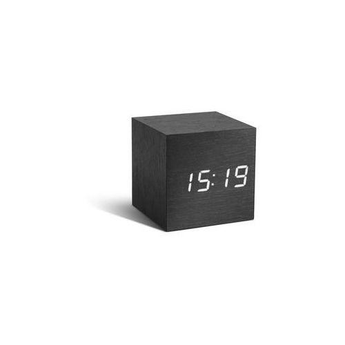 Zegar stołowy, budzik cube black click clock / white led by marki Gingko