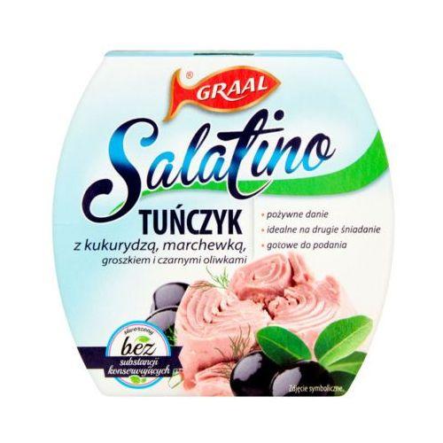 160g salatino tuńczyk z kukurydzą, marchewką, groszkiem i czarnymi oliwkami marki Graal