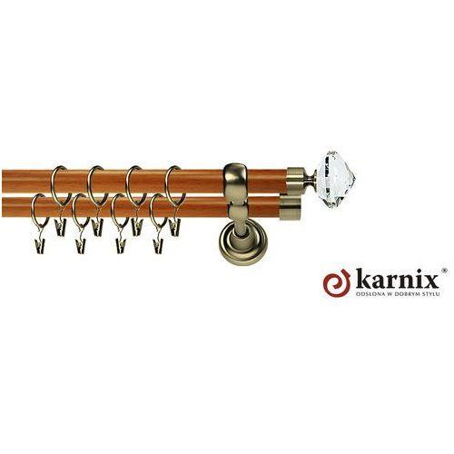 Karnisz Metalowy Prestige podwójny 25/16mm Blanca Crystal Antyk mosiądz - calvados, Karnix