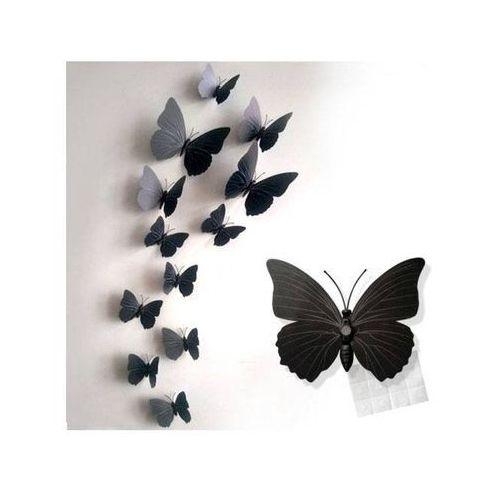 Dp Ozdobne motylki czarne - 11 x 9 cm - 12 szt.