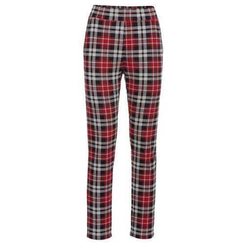 Spodnie w kratę bonprix czerwono-antracytowy w kratę, kolor czerwony
